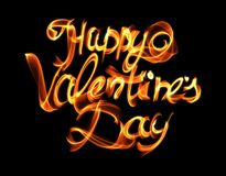 Happy Valentines day isolated words lettering written with fire flame or smoke on black background.  Royalty Free Stock Photo