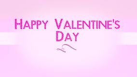 Happy Valentines Day 4K. Happy Valentines Day With Pink Hearts Text And Ribbon - 4K Resolution Ultra HD UHD stock footage
