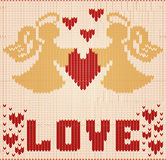 Happy Valentines day knitted card, Two angels and heart, vector Stock Photo