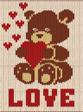Happy Valentines day, knitted teddy bear with heart Stock Images