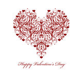 Happy Valentines Day Leaf Vine Hearts Motif Stock Photos