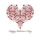 Happy Valentines Day Leaf Vine Hearts Motif Stock Photos