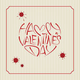 Happy Valentines Day Lettering Card. Vintage Background Stock Photos