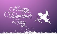 Happy Valentines Day Lettering Cute Greeting Card For Love Holiday With Silhouette Cupid. Vector Illustration Royalty Free Illustration