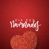 Happy Valentines Day. lettering French Inscription handmade. Dia dos Namorados. Holiday greeting card on red bright heart background. Design of brochures Stock Images