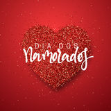 Happy Valentines Day. lettering French Inscription handmade. Dia dos Namorados. Holiday greeting card on red bright heart background. Design of brochures Stock Image