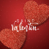 Happy Valentines Day. lettering French Inscription handmade. Saint Valentin. Greeting card on red bright heart background. Decoration for design of brochures Stock Image