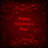 Happy Valentines day lettering greeting card with beautiful shiny pattern on red background. Royalty Free Stock Photo