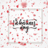 Happy Valentines Day lettering greeting card. Stock Image