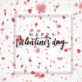 Happy Valentines Day lettering greeting card. Stock Photo