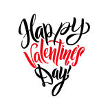 Happy Valentines Day Lettering Greeting Card Heart Shape. Calligraphic Template Royalty Free Stock Image
