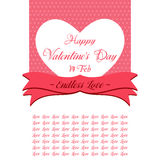 Happy Valentines Day Lettering Greeting Card. Illustration Stock Images