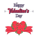 Happy Valentines Day Lettering Greeting Card. Illustration Royalty Free Stock Image