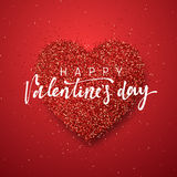 Happy Valentines Day lettering greeting card on red bright heart background. Festive banner and poster Royalty Free Stock Photography