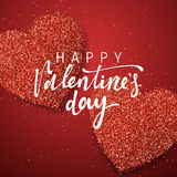 Happy Valentines Day lettering greeting card on red bright heart background. Festive banner and poster Stock Photo