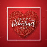 Happy Valentines Day lettering greeting card on red bright heart background. Festive banner and poster Royalty Free Stock Images