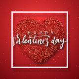 Happy Valentines Day lettering greeting card on red bright heart background. Festive banner and poster Stock Photography