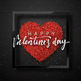 Happy Valentines Day lettering greeting card on red bright heart background. Royalty Free Stock Photos