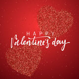 Happy Valentines Day lettering greeting card on red bright heart background. Royalty Free Stock Photo