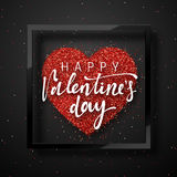 Happy Valentines Day lettering greeting card on red bright heart background. Festive banner and poster Stock Image