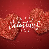 Happy Valentines Day lettering greeting card on red bright heart background. Festive banner and poster Stock Photos