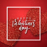Happy Valentines Day lettering greeting card on red bright heart background. Festive banner and poster Royalty Free Stock Photos