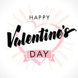Happy Valentines Day lettering, heart and beams greeting card. Valentines day calligraphy card, hand drawn design elements. February 14, vector illustration Royalty Free Stock Photos