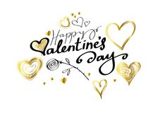 Happy Valentines Day Lettering with hearts and rose on white background Stock Photos