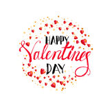 Happy Valentines day lettering with hearts Stock Photography