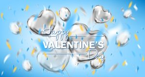 Happy Valentines Day sky blue card with metallic heart shape balloons. Happy Valentines Day lettering and metallic foil heart shape balloons. Design for royalty free stock photos