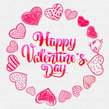 Happy valentines day lettering options and Doodle Stock Photo