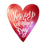 Happy Valentines Day Lettering. Pink Foil Heart Background Greeting Card Royalty Free Stock Image