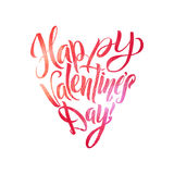 Happy Valentines Day Lettering. Pink Foil Heart Shape. White Background Greeting Card Royalty Free Stock Images
