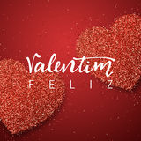 Happy Valentines Day. lettering Portuguese handmade. Royalty Free Stock Photo