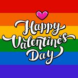 Happy Valentines Day lettering on rainbow background. Lgbt community Valentines Day greeting card. 14th of february. Stock Image