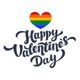 Happy Valentines Day lettering and rainbow heart. Lgbt community Valentines Day greeting card. 14th of february. Royalty Free Stock Photo