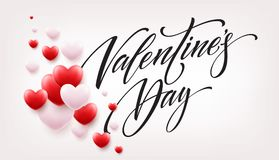 Happy valentines day lettering with red hearts balloon background. Vector illustration. EPS10 Royalty Free Stock Photography