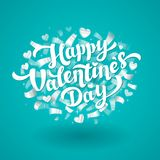 Happy Valentines Day Lettering with silver confetti. 14th of february greeting card. Hans drawn lettering with silver. Hearts on blue background. Vector vector illustration
