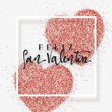 Happy Valentines Day. lettering Spanish Inscription handmade. Greeting card on red bright heart background. Decoration for design of brochures, posters, web Stock Photos