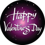Happy Valentines Day lettering on starry night sky background ro Stock Photography