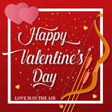 Happy Valentines Day lettering text with golden bow and arrow . Stock Photography