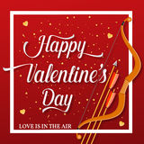 Happy Valentines Day lettering text with golden bow and arrow . Holiday typography design for Valentines Day. Vector Illustration. For greeting card, flyer Stock Image