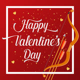 Happy Valentines Day lettering text with golden bow and arrow . Holiday typography design for Valentines Day. Vector Illustration. For greeting card, flyer Royalty Free Stock Photos