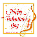 Happy Valentines Day lettering text with golden bow and arrow . Royalty Free Stock Photos