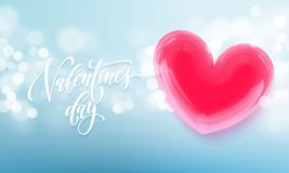 Happy Valentines day lettering text and valentine red crystal heart for greeting card background. Vector Valentines day greeting c. Ard design template of blue Stock Photo