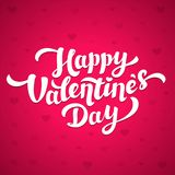 Happy Valentines Day Lettering. 14th of february greeting card. White inscription on pink background with hearts. Vector illustration Royalty Free Stock Images