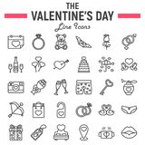 Happy Valentines Day line icon set. Holiday symbols collection, vector sketches, logo illustrations, wedding signs linear pictograms package isolated on white Royalty Free Stock Images