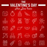 Happy Valentines Day line icon set. Holiday symbols collection, vector sketches, logo illustrations, wedding signs linear pictograms package isolated on red Stock Photography