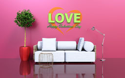 Happy valentines day living room. With sofa, tree and a lamp 3d rendering Stock Images