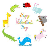 Happy Valentines Day. Love card. Cute animal frame. Baby background.  Royalty Free Stock Image